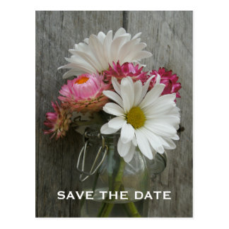 Barnwood, Daisies, & Strawflowers Save The Date Postcard