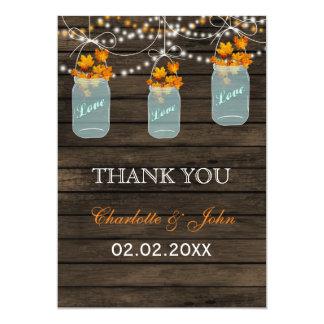 Barnwood fall leaves mason jars Thank You 13 Cm X 18 Cm Invitation Card