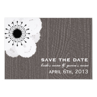 Barnwood Inspired French Anemone Save The Date Card