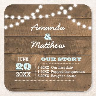Barnwood Lights Aqua Personalised Wedding Square Paper Coaster