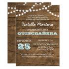Barnwood Lights Aqua Quinceañera Invitation