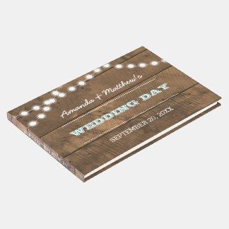 Barnwood Lights Aqua Wedding Guest Book