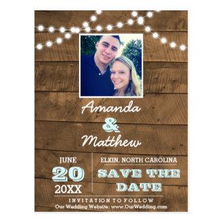Barnwood Lights Aqua Wedding Save the Date Postcard