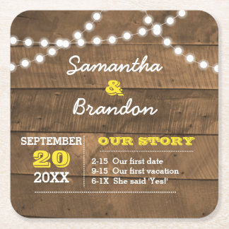 Barnwood Lights Gold Personalized Wedding Square Paper Coaster