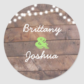 Barnwood Lights Green Personalized Classic Round Sticker