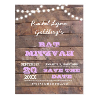 Barnwood Lights Lilac Bat Mitzvah Save the Date Postcard