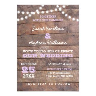 Barnwood Lights Lilac Wedding Invitation