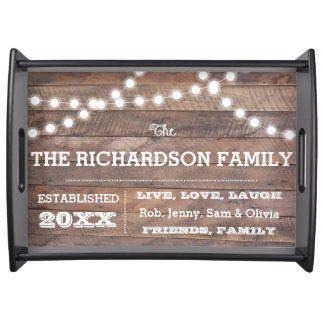 Barnwood Lights Personalized Serving Tray