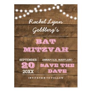 Barnwood Lights Pink Bat Mitzvah Save the Date Postcard