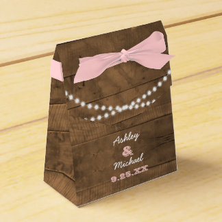 Barnwood Lights Pink Wedding Favour Box