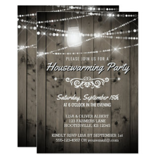 Barnwood Lights Rustic Housewarming Party Card