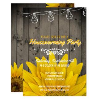 Barnwood Lights Rustic Sunflower Housewarming Card