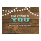 Barnwood Lights Teal Confirmation Thank You Note Card