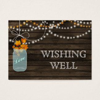 Barnwood mason jars fall leaves wishing well business card