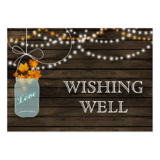Barnwood mason jars fall leaves wishing well pack of chubby business cards
