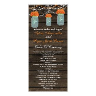 Barnwood mason jars,orange flowers programs rack card