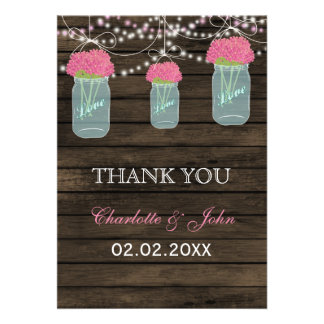 Barnwood pink mason jars Thank You Card