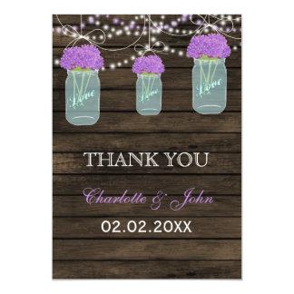 Barnwood purple mason jars Thank You 13 Cm X 18 Cm Invitation Card