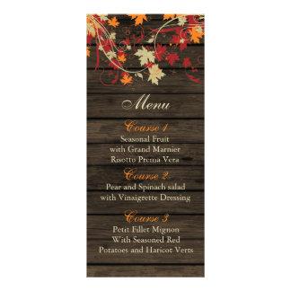 Barnwood Rustic ,fall leaves wedding menu cards