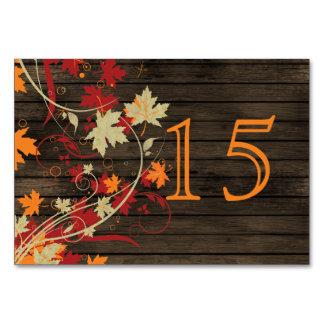 Barnwood Rustic ,fall leaves wedding table numbers