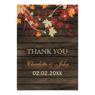 Barnwood Rustic ,fall leaves wedding Thank You 13 Cm X 18 Cm Invitation Card