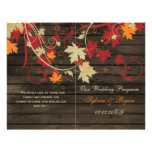 Barnwood Rustic ,fall wedding programs folded 21.5 Cm X 28 Cm Flyer