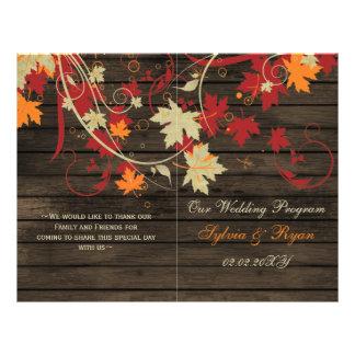 Barnwood Rustic fall wedding programs folded Flyer