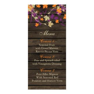 Barnwood Rustic plum fall leaves wedding menu card