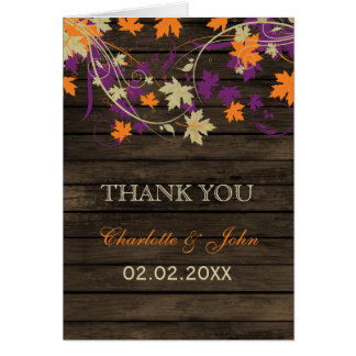 Barnwood Rustic plum fall leaves wedding Thank You Greeting Card