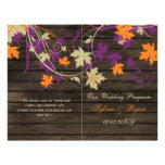 Barnwood Rustic plum fall wedding programs folded 21.5 Cm X 28 Cm Flyer