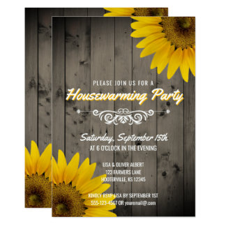 Barnwood Rustic Sunflowers Housewarming Party Card