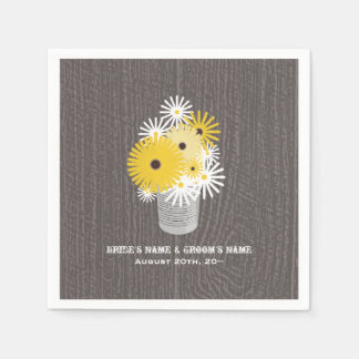Barnwood + Tin Can Of Wildflowers Wedding Napkins Disposable Serviettes