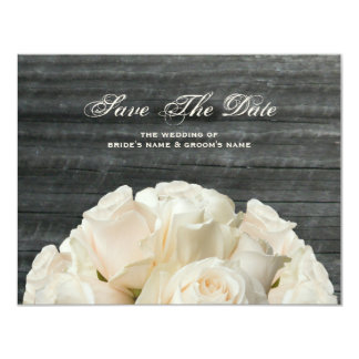 Barnwood & White Roses Wedding Save The Date 11 Cm X 14 Cm Invitation Card