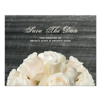 Barnwood & White Roses Wedding Save The Date Personalized Invites