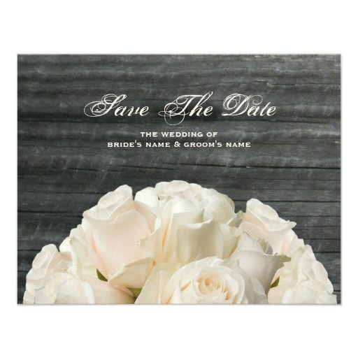 Barnwood & White Roses Wedding Save The Date Personalized Invites