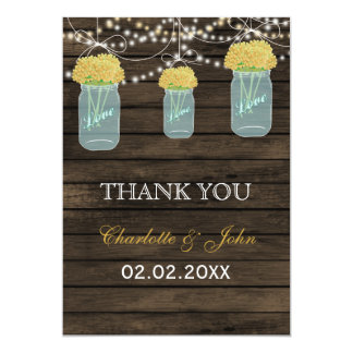 Barnwood  yellow mason jars Thank You 13 Cm X 18 Cm Invitation Card