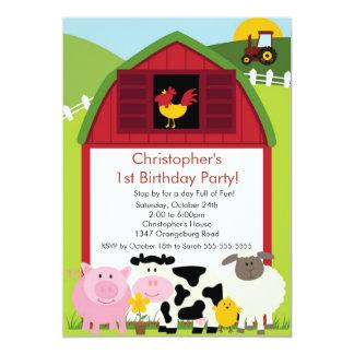 Barnyard Animal Fun Birthday Party 5x7 Paper Invitation Card