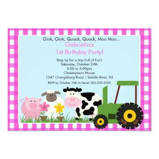 Barnyard Animal Fun Birthday Party Pink Girls 13 Cm X 18 Cm Invitation Card