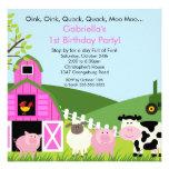 Barnyard Animal Fun Birthday Party Pink Girls Personalised Announcement