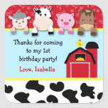 Barnyard animals Birthday Party favour labels Square Sticker