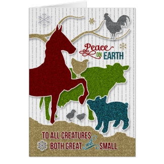 Barnyard Animals Christmas Scrapbook Theme Card