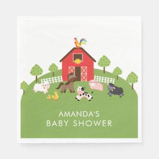 Barnyard Animals Neutral Baby Shower Paper Napkins Disposable Serviette