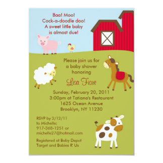 Barnyard Farm Animal Baby Shower Invitations