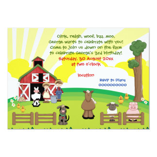 Barnyard farm animal kids birthday 13 cm x 18 cm invitation card