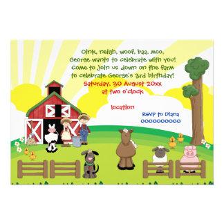Barnyard farm animal kids birthday invitation custom invites