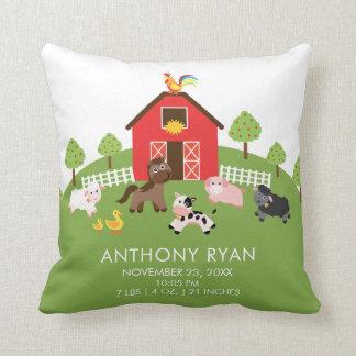 Barnyard Farm Animals Baby Birth Stats Pillow