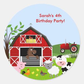 Barnyard Farm Animals Birthday Party Sticker