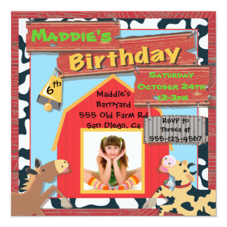 Barnyard Farm Animals Photo Insert Birthday Party 13 Cm X 13 Cm Square Invitation Card