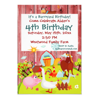 Barnyard Farm Animals Red Wood Birthday Invitation