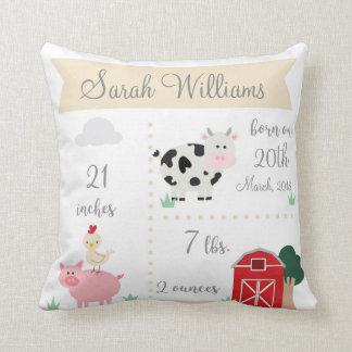 Barnyard Farm Birth Announcement Pillow